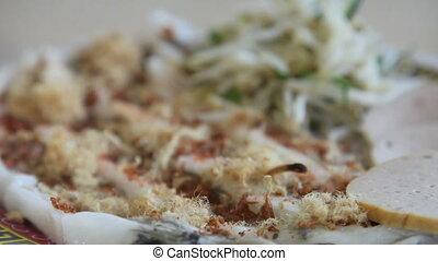 Vietnamese Banh cuon - Traditional Vietnam banh cuon thin...