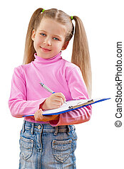 a small girl with clipboard isoalted