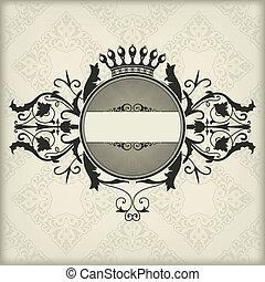 Vintage frame with crown - The vector image Vintage frame...