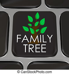 A computer keyboard key with the words Family Tree and...
