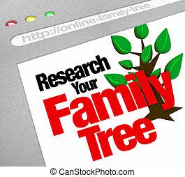 pesquisa, seu, família, árvore, Online, site...