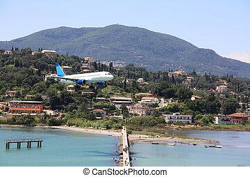 Airplane Landing Corfu Airport - an airplane is landung at...