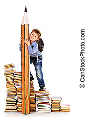 literature - A boy climbing the stairs of books with a huge...