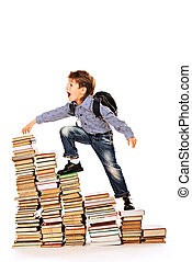 running to the aim - A boy climbing the stairs of books...