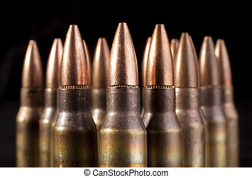Bullets Closeup - Bullets closeup on black backgrounds