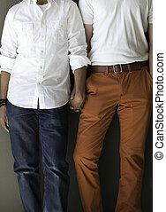 Trendy gay male interracial couple - Colorful gay male...