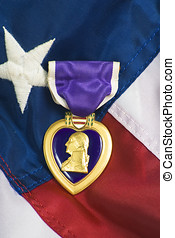 Purple Heart on USA flag - Purple heart awarded for wounds...