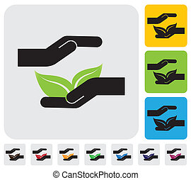 Human hands protecting nature concept- simple vector graphic