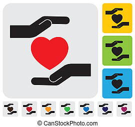 Human hands protecting heart concept- vector graphic