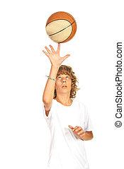 Basketball teen spinning on finger