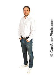 Full length of casual business man isolated on white...