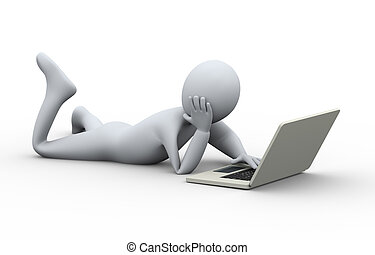 3d person easy laptop usage - 3d illustration of relaxed man...