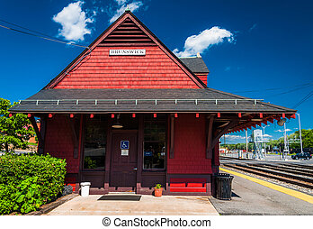 Train station in Brunswick, Maryland. - Train station in...
