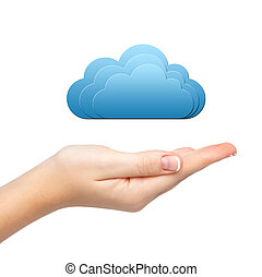 isolated woman's hand holding a cloud