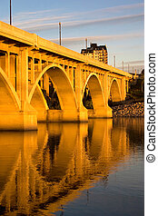 Sunset on the Broadway Bridge - The Broadway Bridge can be...
