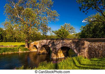 Burnside, Puente, hermoso, primavera, día, Antietam,...
