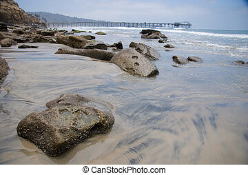 Patterns in the Sand - The coastline near La Jolla,...