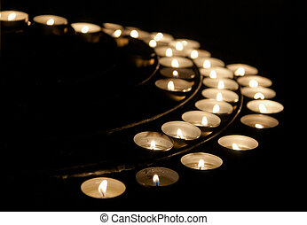Candlelights - Group of candlelights with flames. Symbol of...