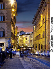 Night streets of Florence, Italy