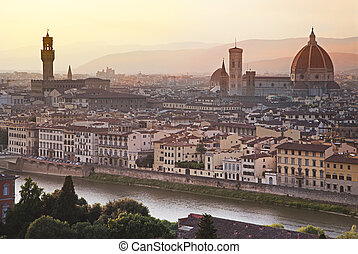 Florence skyline at sunrise, Italy - Florence cityscape with...