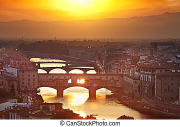 Bridges of Florence at sunset, Italy