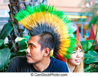 The punk - Portrait of a punk with a colorful mohawk.