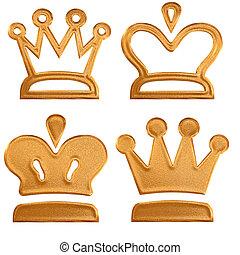 四, 黃金, 摘要, 王冠, 圖案