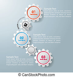 Three Gears Infographic Design - Colorful infographic gears...