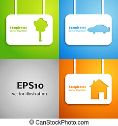 House, car and tree applique background set