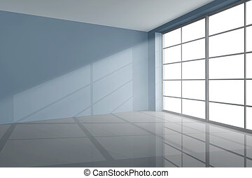 Empty room in grey with large window