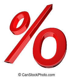 Percentage symbol in red - 3d illustration of a percentage...
