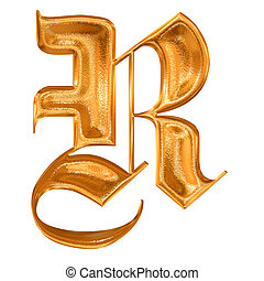 Golden pattern gothic letter R