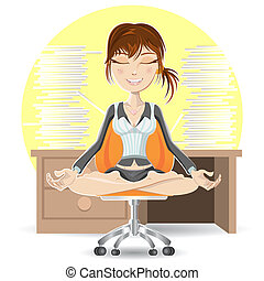 Meditation At The Office - Woman Meditation At The Office...