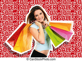 Shopping woman - shopping woman in front of marketing and...