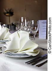 Elegant table setting - Closeup of and elegant table setting...