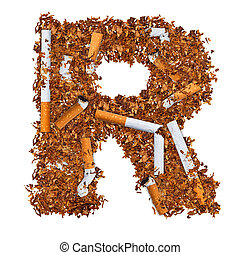 Letter R made of cigarettes and dried smoking tobacco