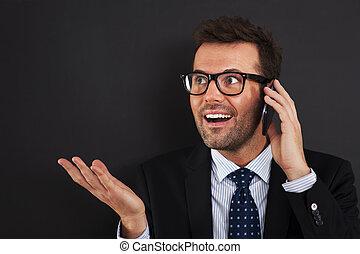 mobile, téléphone, discuter, Hommes affaires