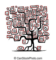 Family tree sketch with people portraits for your design