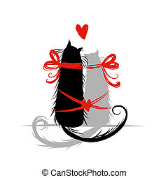 Two cat in love. Illustration for your design
