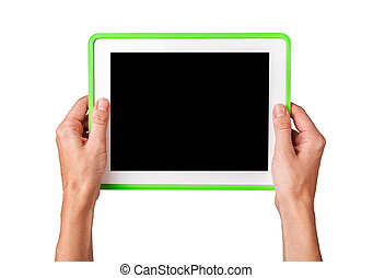Female hands holding a tablet touch computer gadget