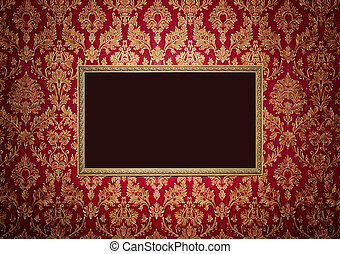 Red retro interior with empty exposition