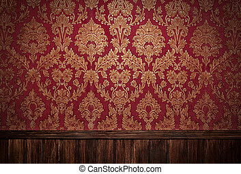 Red retro interior with floral ornament