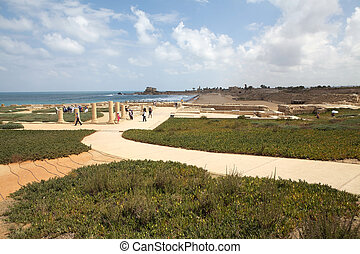 Caesarea, Israel, June 14, 2013: tourist are walking in the...