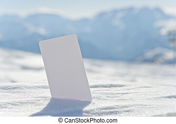 Blank snow business card ticket - Ski lift pass stuck in...