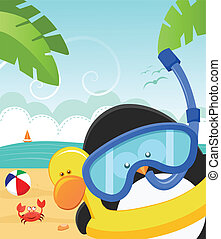 Penguin's Summer Message - Cute little penguin wearing...