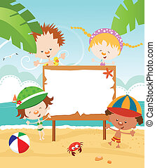 Kids Summer Message - Cute little summer kids with billboard...