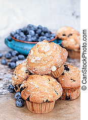 Blueberry Muffins and Fresh Berries