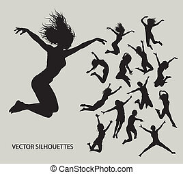 Girl Jumping Silhouettes - 13 Female jumping action...