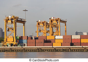 ship yard with heavy crane with container box use for import...