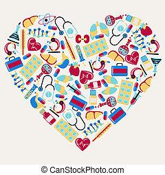médico, salud, cuidado, iconos, forma, corazón